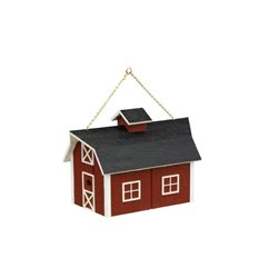 Outdoor Hanging Wood Red Barn Shaped Bird House