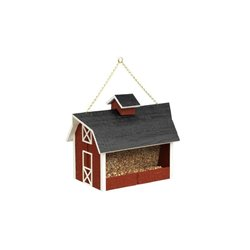 Outdoor Hanging Wood Red Barn Shaped Bird Feeder