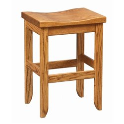 Oak Saddle Top Stool in Dining, Counter, or Bar Height - Seely Stain