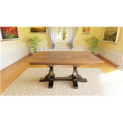 Gatlin 6 Foot Double Pedestal Dining Table with Solid or Expandable Top - Two Tone