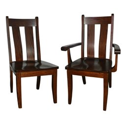 Set of 2 Oak Heritage Dining Side or Arm Chairs - Medium Stain