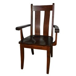 Set of 2 Oak Heritage Dining Arm Chairs - Medium Stain