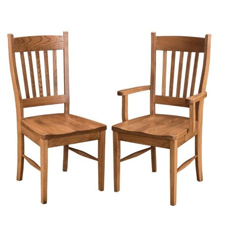 Set of 2 Oak Shaker Dining Side or Arm Chairs - Fruitwood Stain