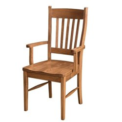 Set of 2 Oak Shaker Dining Arm Chairs - Fruitwood Stain