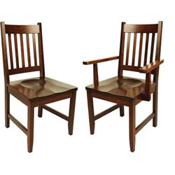 Set of 2 94-A Dining Side or Arm Chairs in Brown Maple with Asbury Stain