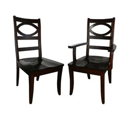 Set of 2 Globe Dining Side or Arm Chairs in Brown Maple with Asbury Stain