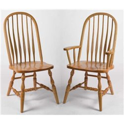 Set of 2 Oak Deluxe High Back Bent Feather Dining Side or Arm Chairs - Fruitwood Stain