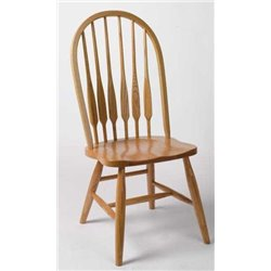 Set of 2 Oak Deluxe High Back Bent Feather Dining Side Chairs - Fruitwood Stain