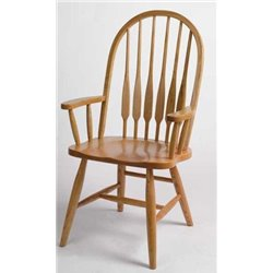 Set of 2 Oak Deluxe High Back Bent Feather Dining Arm Chairs - Fruitwood Stain