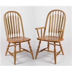 Set of 2 Oak Deluxe High Back Bent Paddle Dining Side or Arm Chairs - Fruitwood Stain