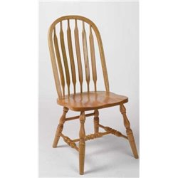 Set of 2 Oak Deluxe High Back Bent Paddle Dining Side Chairs - Fruitwood Stain