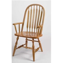 Set of 2 Oak Deluxe High Back Bent Paddle Dining Arm Chairs - Fruitwood Stain