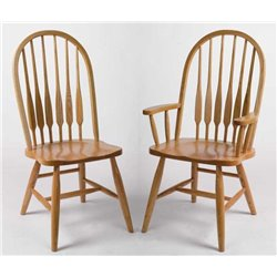 Set of 2 Oak High Back Bent Feather Dining Side or Arm Chairs - Fruitwood Stain