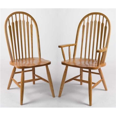 Set of 2 Oak High Arrow Back Dining Side or Arm Chairs - Fruitwood Stain