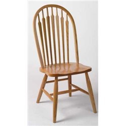 Set of 2 Oak High Arrow Back Dining Side Chairs - Fruitwood Stain