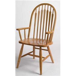 Set of 2 Oak High Arrow Back Dining Arm Chairs - Fruitwood Stain