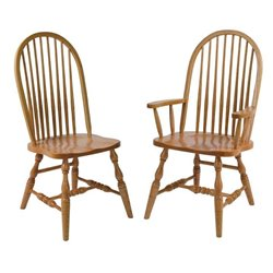 Set of 2 Oak High Back 8 Spindle Dining Side or Arm Chairs - Medium Stain