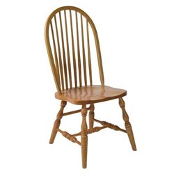 Set of 2 Oak High Back 8 Spindle Dining Side Chairs - Medium Stain