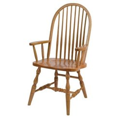 Set of 2 Oak High Back 8 Spindle Dining Arm Chairs - Medium Stain