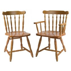 Set of 2 Oak Yugo Dining Side or Arm Chairs - Medium Stain