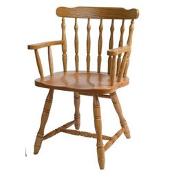 Set of 2 Oak Yugo Dining Arm Chairs - Medium Stain