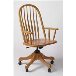 Oak Bent Feather Deluxe Rolling Adjustable Height Office Chair