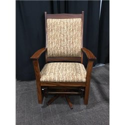 Oak Flat Arm Swivel Glider in Boston Cherry Stain with Boston Fabric