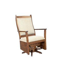 Oak Flat Arm Swivel Glider in Michael's Cherry Stain with Ecru Fabric