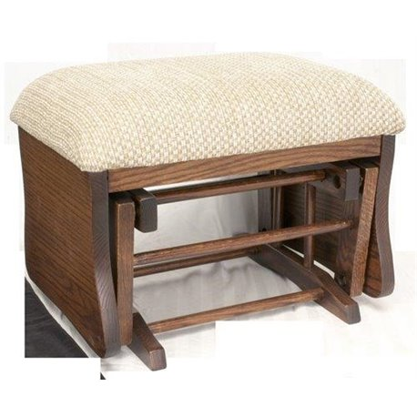 Tremendous Oak Upholstered Gliding Ottoman Foot Stool In Michaels Cherry Stain Frankydiablos Diy Chair Ideas Frankydiabloscom