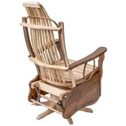 Wormy Maple and Walnut Flat Arm Swivel Glider