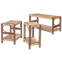 Wormy Maple and Walnut Coffee Table, Side Table, & End Table Set