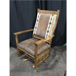 Upholstered Rough Sawn Oak Flat Arm Swivel Glider in Dark Walnut Stain