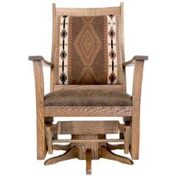 Upholstered Rough Sawn Oak Flat Arm Swivel Glider in Provincial Stain - Apache Fabric