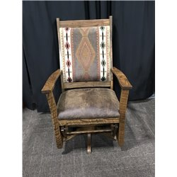 Upholstered Rough Sawn Oak Flat Arm Swivel Glider in Urban Dark Walnut - Apache Fabric