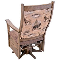 Upholstered Rough Sawn Oak Flat Arm Swivel Glider in Urban Dark Walnut Stain - Wildlife Fabric
