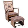 Upholstered Rough Sawn Oak Flat Arm Swivel Glider with Ottoman in Urban Dark Walnut Stain - Wildlife Fabric