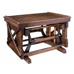 Rough Sawn Oak Gliding Ottoman / Foot Stool with Open Side in Urban Walnut Finish