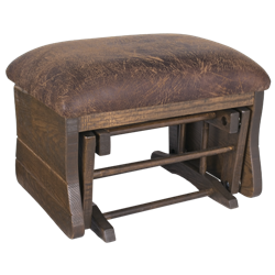 Upholstered Rough Sawn Oak Gliding Ottoman / Foot Stool in Dark Walnut Stain