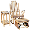 Exotic Woods Flat Arm Rocking Chair, Side Table, & Gliding Ottoman Set