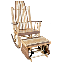 Exotic Woods Flat Arm Rocking Chair & Gliding Ottoman Set