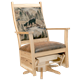 Swivel Glider with Upholstered Back and Seat in Character Hickory with Clear Lacquer