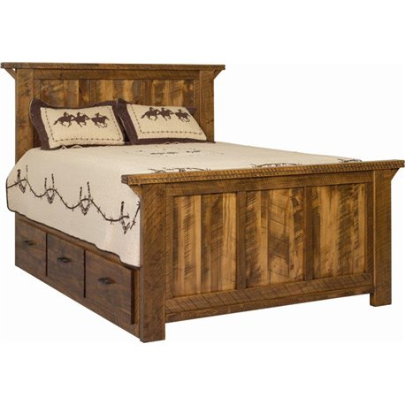 Wormy Maple Rough Sawn Western Twist Panel Bed with Storage - Provencial Stain