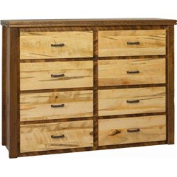8 Drawer Dresser in Rough Sawn Wormy Maple with Barbed Wire Accents - Two-Tone