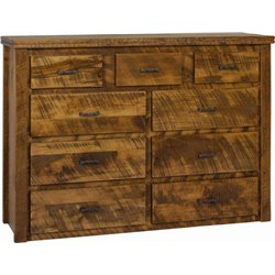 9 Drawer Dresser in Rough Sawn Wormy Maple with Barbed Wire Accents