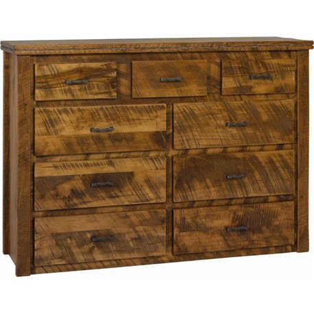 9 Drawer Dresser in Rough Sawn Wormy Maple with Barbed Wire Accents - Provential Stain