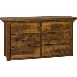 6 Drawer Dresser in Rough Sawn Wormy Maple with Barbed Wire Accents - Provencial Stain