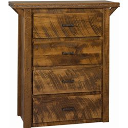 4 Drawer Tall Dresser in Rough Sawn Wormy Maple with Barbed Wire Accents