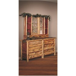 Rustic Red Cedar Log 6 Drawer Dresser with Mirror Hutch
