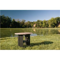 Poly OVAL End Table - Weatherwood & Black