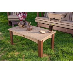 Outdoor Island Coffee Table in Poly Lumber - Weatherwood & Chestnut Brown